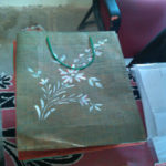 painted gift bag green